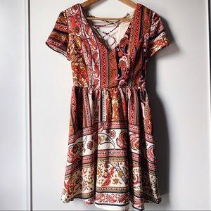 Ark & Co orange paisley midi dress size small
